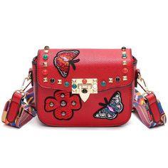 Rivet Butterfly Flower Embroidery Women PU Leather Handbags