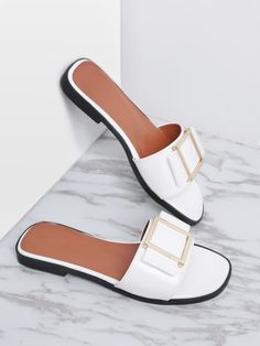 SheIn offers White Metal Detail Patent Leather Slider Sandals & more to fit your fashionable needs. Shoes Flats Sandals, Shoe Boots, Clearance Shoes, Womens Slippers, Beautiful Shoes, Summer Shoes, Cute Shoes, Patent Leather, Leather Shoes