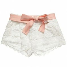 Mayoral Girls Lace Shorts with Belt at Childrensalon.com