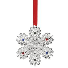 2016 jeweled snowflake christmas ornament lenox christmas tree decoration silver snowflake - Silver Plated Christmas Tree Decorations
