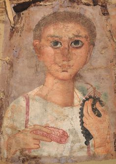 EGYPTIAN FAIYUM PORTRAIT OF A YOUTH ON LINEN