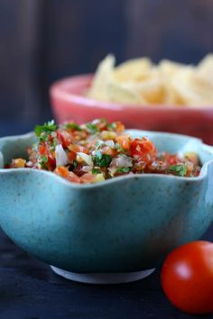 Fresh and delicious cherry tomato salsa takes just minutes to make, and it's perfect for serving with tacos, quesadillas, or crunchy tortilla chips! Cherry Tomato Salsa, Cherry Tomato Recipes, Cherry Tomatoes, Garden Tomatoes, Tomato Garden, Tortilla Chips, Glutenfree, Food To Make, Dairy Free