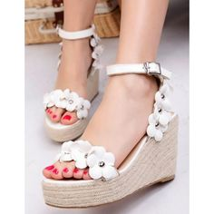 Flower-Detail Espadrille Wedge Sandals ($29) ❤ liked on Polyvore featuring shoes, sandals, pink sandals, high heel platform sandals, white wedge shoes, pink platform sandals and platform espadrilles