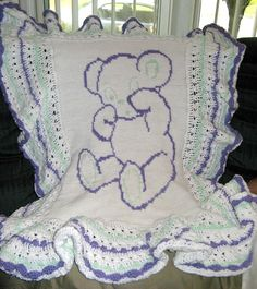 sleepy bear afghan pattern by Dianne Janise Crochet Square Blanket, Baby Afghan Crochet, Crochet Bebe, Baby Afghans, Crochet Blankets, Cot Blankets, Crochet Pattern, Baby Shawl, Blanket Shawl