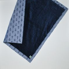 Anchor Print Chambray and Navy Minky Baby Blanket