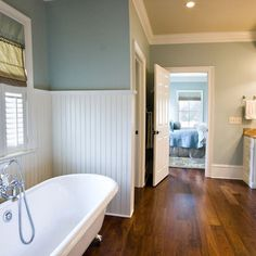 Traditional Spaces Blue+bathrrom+walls+cream+toilet Design, Pictures, Remodel, Decor and Ideas - page 19