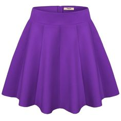 Timeson Women's Versatile Strentchy Flared A line Plain Causal Mini... ($9.99) ❤ liked on Polyvore featuring skirts, mini skirts, circle skirts, skater skirt, a line mini skirt, purple mini skirt and flare skirt