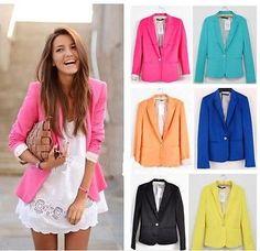 New Fashion Womens Candy Color Basic Slim Foldable Suit Jacket Blazer 6 Colors