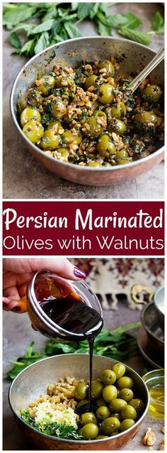 Marinated Olives with Walnuts (Zeytoon Parvardeh) - Marinated olives made Persian style! Delicious olives marinated with walnuts, pomegranate molasses and herbs make a fantastic combination that is full of flavor Vegetarian Recipes, Cooking Recipes, Healthy Recipes, Arab Food Recipes, Arabic Recipes, Side Dish Recipes, Side Dishes, Fingers Food, Iran Food