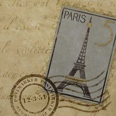 Springtime in Paris wall set... ooh la la!!  I have my eyes on this great set of 3: Eiffel Tower stamp, postmark, and written letter. I am imagining this in cherry blossom pinks and soft greens.