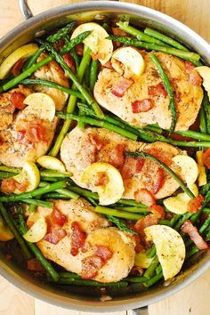 Anything is better with bacon in it! Toss together chicken breast, asparagus,squash and crumbled bacon and toss with a delicious homemade sauce that coats this skillet dinner with a great flavor! This gluten-free and paleo-friendly meal will become a staple on your dinner menu.