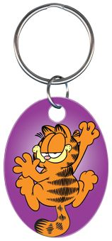 Garfield and Friends Cartoon Key Ring Chain Officially Licensed by Paws Automotive Accessories Product Oval Shaped Purple Garfield Cartoon Television Show Keychain Graphic Is On Both Sides of the Painted Key Ring Genuine Licensed By Paws, All Rights Reserved Makes An Excellent Gift Item For Garfield The Cat Memorabilia Collectors