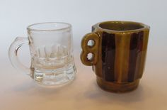 ANTIQUE SHOT GLASSES Clear Glass  Double Handle Ceramic Pottery Striped Japan Uneven Glass 1930's F Shield Federal Glass Company Lot of Two by MADONNASCOLLECTIBLES on Etsy