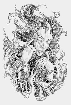 It's all in your head by Lucas de Alcântara from an interesting interview with DepthCore Ink Illustrations, Illustration Art, Ant Drawing, Arte Dark Souls, Detailed Coloring Pages, Surreal Art, Ink Art, Aesthetic Art, Art Inspo