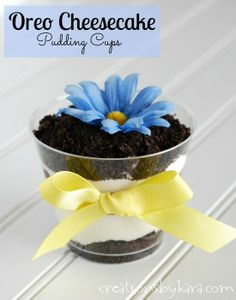 Oreo Cheesecake Pudding Cups. So easy, but so delicious! No oven required, so they are a perfect dessert for summer! from creationsbykara.com