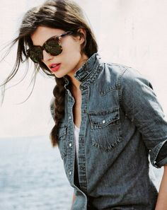love the braid - via J.Crew Sept 2012 Fashion Moda, Fashion Tips, Fashion Design, Fashion Beauty, Womens Fashion, Denim Fashion, Style Fashion, Fall Fashion, Fashion Shoes