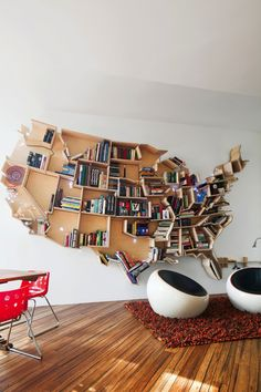 american bookshelf by andrei saltykov | via dwell