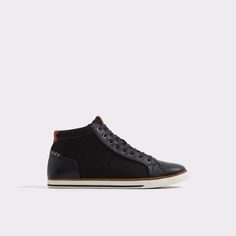 Hasher These hi-tops are as sleek as any polished shoe. Withsmoothuppers and contrast white soles, these kicks are for the minimalist well-heeled man and all his day-to-day style needs.