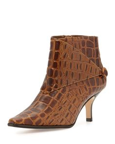 Loli Crocodile-Print Ankle Boot, Tan by Donald J Pliner at Neiman Marcus.
