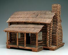 Old Model of a One Room Log Cabin...with porch, early 20th. century.