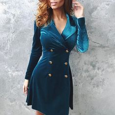 Velvet Double Breasted Blazer Bodycon Dress Fashion Trends, Styles and Tips for Women in 2018 Vintage dresses fashion Bodycon dress Mini dress Sweater cardigan Trend Fashion, Fashion Beauty, Fall Fashion, Style Fashion, Fashion Tips For Women, Womens Fashion, Casual Work Wear, Velvet Bodycon Dress, Blazer Dress