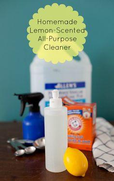 Homemade lemon-scented all-purpose cleaner: 1/4 cup white vinegar, 2 Tbsp. baking soda, 1 liter (4 c.) hot water, 1/2 a lemon.