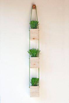 "Hanging Wall Planter set of two square 3"" x 3"" steel indoor outdoor garden hanging"