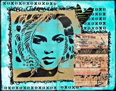 Mary C Nasser made this art journal spread in turquoise and tan using stencils from Mary Beth Shaw's 16.2 Collection for StencilClub. Isn't she lovely?!