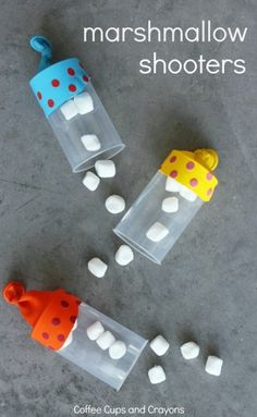 Marshmallow Shooters DIY Kids Craft Use for David and Goliath activity by making a Goliath out of a $1 plastic tablecloth pinned to wall 8' high and shooting marshmallows as the stones.