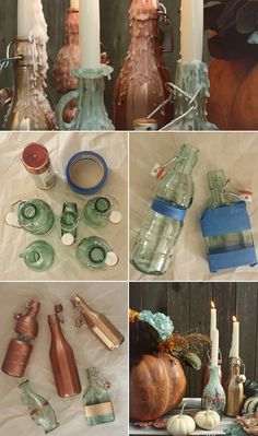 Consider this DIY project a modern take on the classic taper candle and Chianti wine bottle combination! With a little help from spray paint, a few strips of Wine Bottle Candles, Wine Bottle Crafts, Bottles And Jars, Creative Crafts, Fun Crafts, Diy And Crafts, Diy Projects To Try, Craft Projects, Recycled Bottles