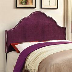 PRI Glam Velvet Upholstered Nailhead Purple Headboard #PRI