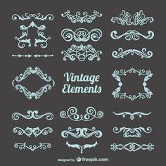 Colección de ornamentos vintage Vector Gratis
