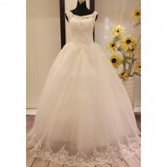 $89.12 Charming Scoop Neck Beading Appliques Jacquard Embellished Lace Up Wedding Dress For Bride
