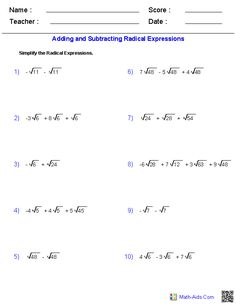 Adding and Subtracting Radical Expressions Worksheets