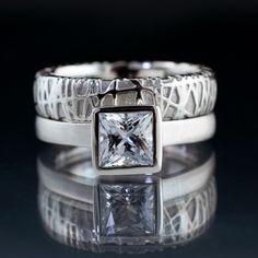 Bridal Set Princess White Sapphire Engagement Ring and Woven Wedding Band