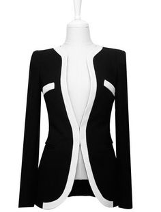 Office Lady Fitted Black And White Match Polyester Women's Blazer Corduroy Jacket, Neck Pattern, Office Ladies, Warm Coat, Office Wear, Casual Wear, Jackets For Women, Women Wear, Black And White