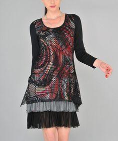 Look at this #zulilyfind! Red & Black Abstract Tulle Hem Scoop Neck Dress #zulilyfinds