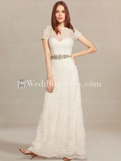 Lace wedding dress in style gives you a breathtaking, rich look that you will love to wear on your special day. This amazing gown has a bateau illusion neckline with short sleeves. A beaded belt accents the natural waist. Back is complete with sexy deep V-neckline and zip closure.