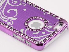 Purple Luxury Brushed Aluminum Chrome Hard Case For iPhone 5 5G 6th+Film Protect