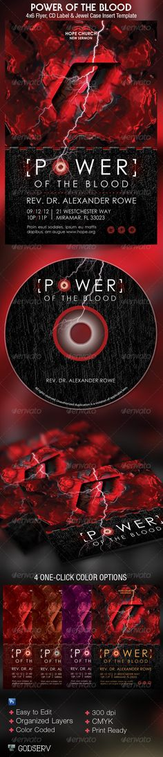 Power of The Blood Church Flyer and CD Template -$7.00