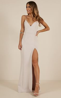 Complete your look with the Dare To Dream Maxi Dress In Stone from Showpo! Grad Dresses, Dance Dresses, Sexy Dresses, Beautiful Dresses, Fashion Dresses, Bridesmaid Dresses, Formal Dresses, Stone Bridesmaid Dress, White Ball Dresses