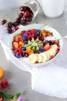 Easy coconut milk oatmeal with fruit