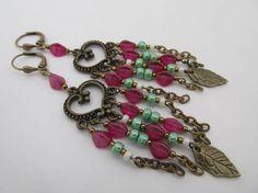 Boho Chandelier Leaf Charm Earrings