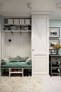Closet/storage bench idea for front entrance