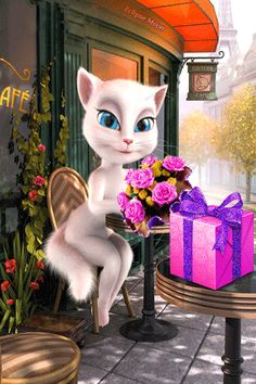 Happy Birthday my Dear! Happy Birthday Images, Happy Birthday Wishes, Birthday Greetings, Cat Site, Kitten Cartoon, Image Chat, Birthday Songs, Photo Chat, Beautiful Gif
