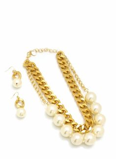 oversized pearl chain necklace set