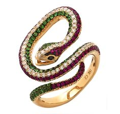 Carol Brodie 18K Yellow Gold Plate Multi-Gemstone Snake Ring