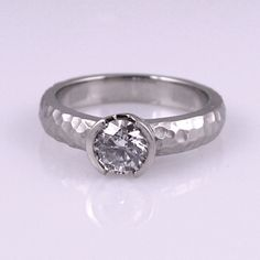 my dream engagement ring. hammered whitegold with solitare diamond