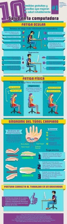 Infografía: Salud frente a la computadora. #salud y #bienestar