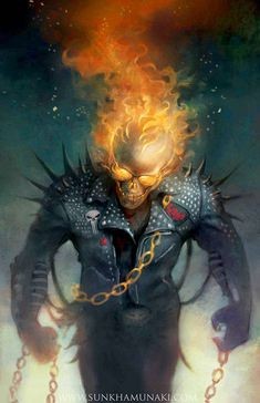 "redskullspage: "" Ghost Rider by Sun Khamunaki "" Marvel Comic Character, Comic Book Characters, Marvel Characters, Comic Books Art, Comic Art, Character Art, Marvel Dc, Marvel Comics Art, Captain Marvel"